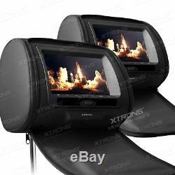 Black 2pcs Car Pillow Headrest Screen HD LCD Screen Monitor CD DVD Player IR USB
