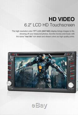 Camera + UK 6.2 In Dash Sat Nav 2din Car Stereo DVD Player GPS Bluetooth Radio