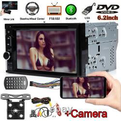 Double 2Din Car CD DVD Player Touch Phone Link GPS Stereo for Android iOS+Camera