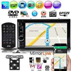 Double DIN Car Stereo Radio Head Unit 6.2 Touch DVD Player Mirror-GPS Sat Camer