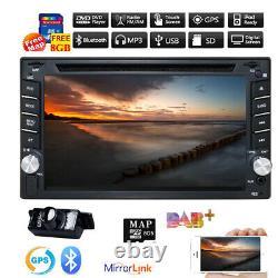 Double Din Car Stereo DVD Player Mirror Link For Sat Nav GPS USB Radio + Camera