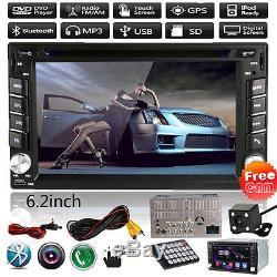 GPS Nav 6.2 HD 2DIN Bluetooth Car Stereo Radio DVD CD MP3 Player IPOD/USB+CAM