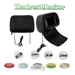 HD Car Digital Monitor Video Headrest DVD Player HDMI Game USB TV IR SD 2x 7