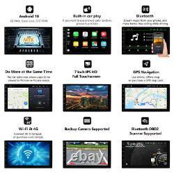 Head Unit Android 10 WIFI 7 LCD 2DIN Car Radio Stereo CarPlay GPS SAT Nav +CAM