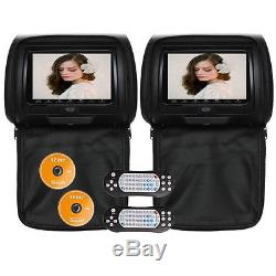 Headrest 2 X 7 HD LCD Pillow Back Car Monitor 2 DVD Player GAME Discs AU
