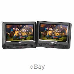 Laser Portable DVD Player Dual 9 Screen/Car Headrest Mount Holder/Headphones