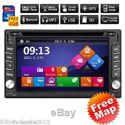 Maps+Double 2DIN In Dash GPS Navi Car DVD Player Bluetooth Auto Stereo Radio USB