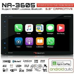 NAKAMICHI NA3605 2-Din 6.8 Apple Car Play & Andriod Auto CD DVD USB Car Stereo