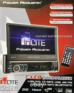NEW Power Acoustik PD-721B Single DIN Car Audio Receiver, Flip-Out 7 Screen