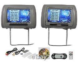 New Rockville RDP931-GR 9 Gray Car DVD/USB/HDMI Headrest Monitors+Video Games