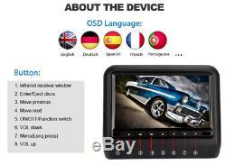 Pair 9 12V Car DVD LCD Headrest USB SD HDMI Monitor Player Games Remote Control