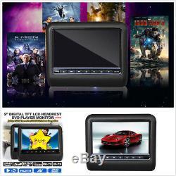 Pair 9 inch Digital Screen Car DVD Player LCD Headrest Monitor USB SD HDMI Games