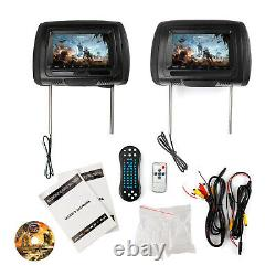 Pair HD 7 Car Digital Monitor Video Headrest DVD Player HDMI Game USB TV IR SD