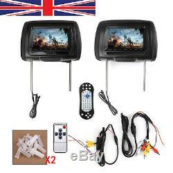 Pair HD 7 Car Headrest Digital Monitor Video DVD Player HDMI Game USB TV IR SD
