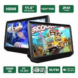 Portable Slim 2x 11.6 IPS HD Screen Car Headrest TV Monitor DVD/USB/HDMI Player