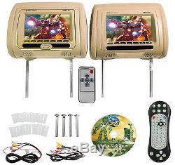 Rockville RDP711-BG 7 Beige Car Headrest Monitors withDVD Player/USB/HDMI+Games