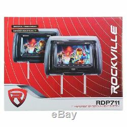 Rockville RDP711-GR 7 Grey Car Headrest Monitors withDVD Player/USB/HDMI+Games+SD