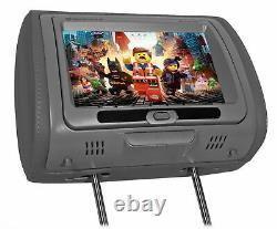 Rockville RTSVD961-GR 9 Grey Plug N Play Dual DVD/HDMI Car Headrest Monitors