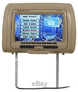 Rockville RVD951-BG 9 Beige Dual DVD/HDMI Car Headrest Monitors+2 Headphones