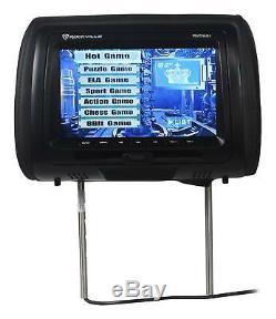 Rockville RVD951-BK 9 Black Dual DVD/HDMI Car Headrest Monitors+2 Headphones
