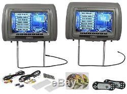 Rockville RVD951-GR 9 Gray Dual DVD/USB/HDMI/SD Car Headrest Monitors + Games