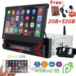 Single 1DIN 7Android 10.0 DVD Flip Up GPS Navigation Car Stereo Radio CD Player
