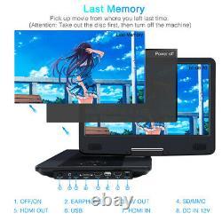 UK 14 Portable Blu Ray DVD Player Digital TFT Screen Car USB SD HDMI 10201080