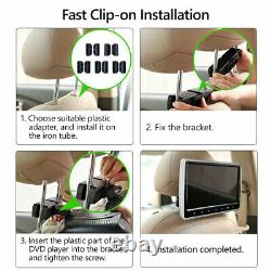 US 2X HDMI 10 LCD Car Headrest Active Monitor DVD/USB Player Game Headsets E