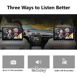 US 2x 11.6 IPS Screen Car Headrest TV Monitor DVD/USB/SD/HDMI Player FM/Speaker