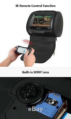 US Black 2x 7HD Screen Car Headrest Monitors DVD Player CD Sony Lens 32bit Game