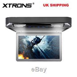 XTRONS 13.3 inch 1080P Car Roof Flip Down DVD Player TFT HD Monitors HDMI GREY