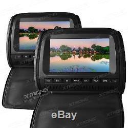XTRONS 2X 9 Car Headrest Digital Screen DVD player USB Games SD FM IR Zipper UK