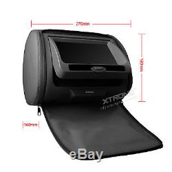 XTRONS 2 x 7 Car Headrest Digital DVD Player Game Dual Monitor Screen Black UK