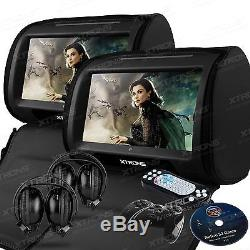 XTRONS 2x 9 Car Headrest Pillow DVD Player Game Digital Touch Screen Monitor UK