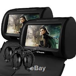 XTRONS HD908 Black 2x 9 CAR HEADREST DVD Player TOUCH SCREEN Monitor Headphone