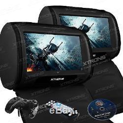 XTRONS HD908 Black 2x 9 Car Headrest Digital Monitor Touch Screen DVD Player UK