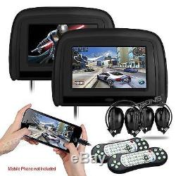 XTRONS HD909 BLACK 2x 9 CAR HEADREST DIGITAL DVD MONITOR PLAYERS HDMI 2 Headset