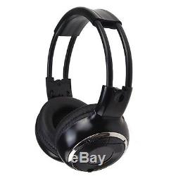 Zone Tech 2x 7 Inch Car Headrest DVD Player Radio TV Monitor+Headphones Gray